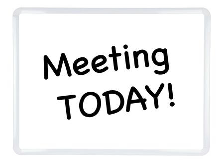 Meeting TODAY  written on White Dry Erase Board on White Background Stock Photo