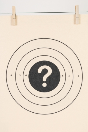 Standard Pistol Target with a Question Mark in the Bulls Eye Stock Photo