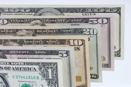 Close-Up of U S Paper Currency Notes Displayed in Ascending Order
