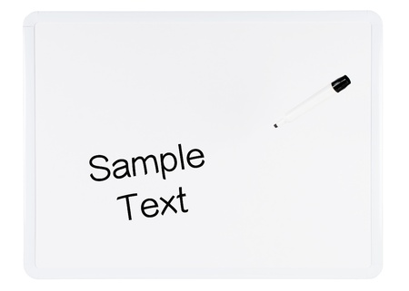 dry erase: White Dry Erase Board on White Background with a Black Marker Suspended in Air and Background Clipping Path Stock Photo