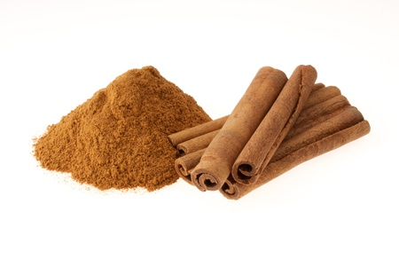 Cinnamon in Ground and Stick on White