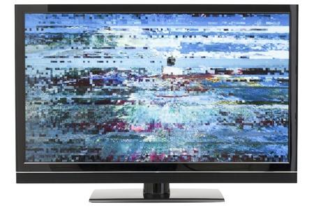 화면의 왜곡 된 이미지를 가진 디지털 방식으로 LCD TV