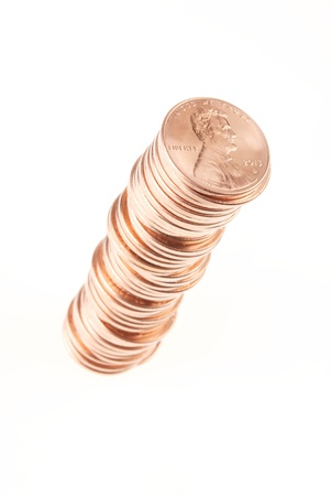 five cents: Pennies Stacked on White Background with Lower Left to Upper Right Orientation