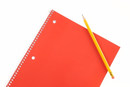 Red Spiral Notebook and Pencil with Room For Copy