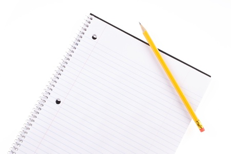 Open Spiral Notebook and Pencil with Room For Copy Stock Photo