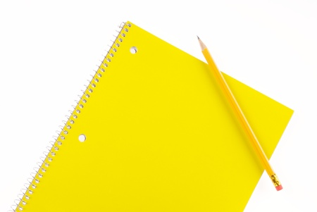 Yellow Spiral Notebook and Pencil with Room For Copy