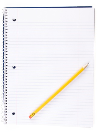 Open Spiral Notebook and Pencil Stock Photo