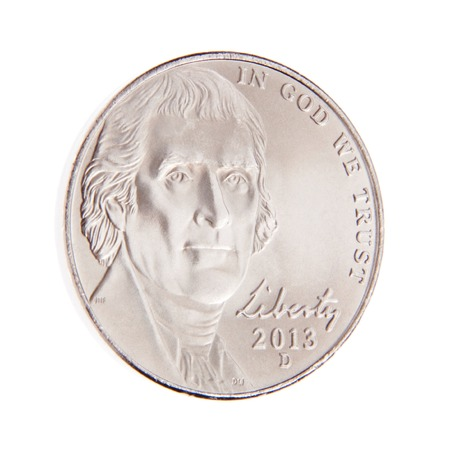 Obverse of a US Five Cent Coin Stock Photo