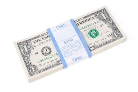 Bundle of 100 One Dollar Bills Stock Photo