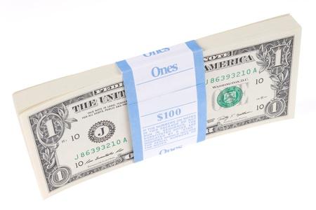 Bundle of 100 One Dollar Bills on Edge