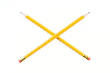 Two Lead Pencils Crossed on White Background
