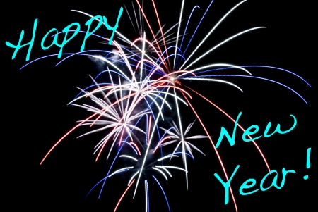 Aerial Fireworks Exploding with Red White and Blue Colors with Happy New Year text