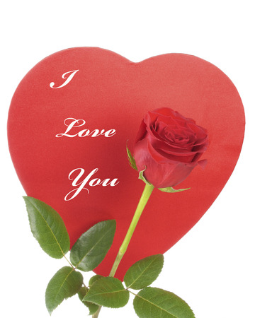Red Rose and a Red Heart with I Love You text Stock Photo