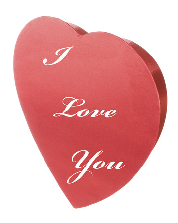 Red Satin Valentines Heart with I Love You text Stock Photo