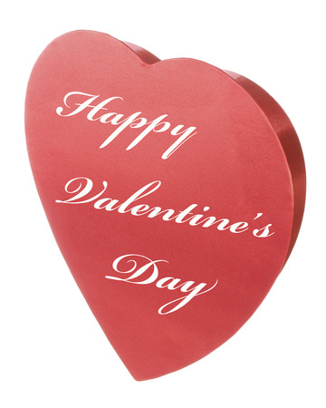 Red Satin Valentines Heart with Happy Valentine s Day copy text Stock Photo
