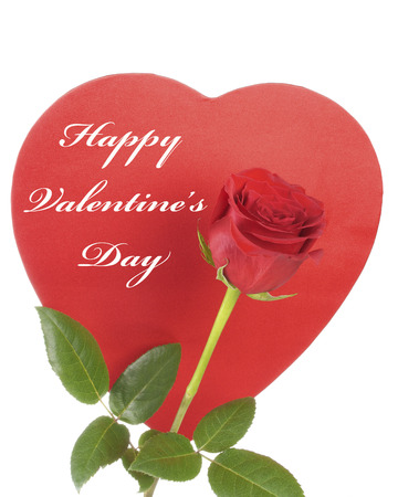 Red Rose and a Red Heart with Happy Valentine s Day copy text Stock Photo