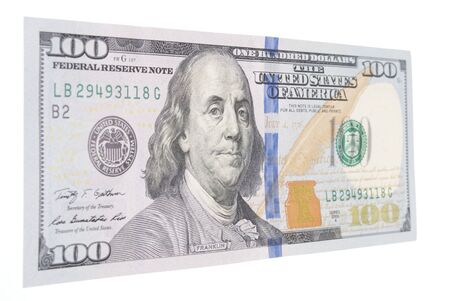 Angle View of a United States One Hundred Dollar Bill Issued for Circulation in 2013 Stock Photo