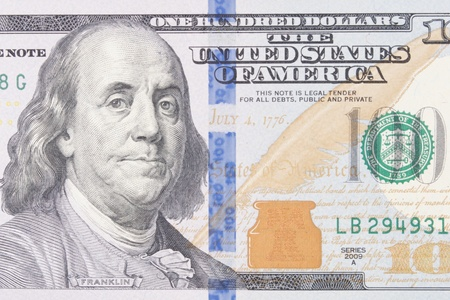 Close Up of a United States One Hundred Dollar Bill Stock Photo