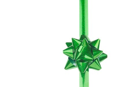 Green Bow and Ribbon on White Background