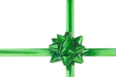 Green Bow and Crossed Ribbons on White Background