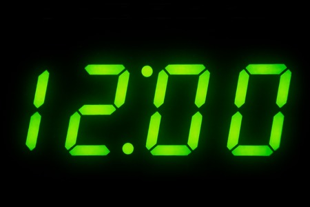 12 o'clock: Digital Clock Display of set on 12 O clock