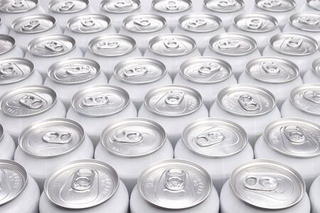Plain Aluminum Beverage Cans Filling the Frame Stock Photo