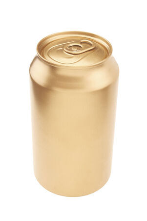 Gold Beverage Can with a Background Clipping Path Stock Photo