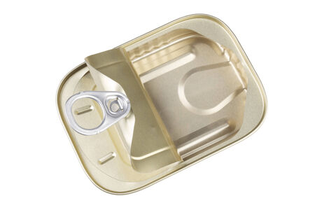 sardine can: Open Sardine Can with Clipping Paths for both the Background and the Interior of the Can Stock Photo