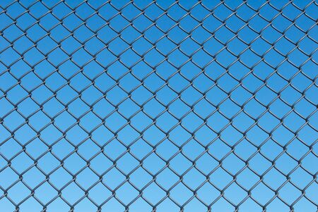 Chain Link Fence with a Blue Sky Background