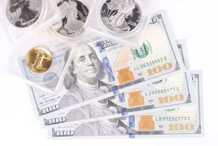 One Hundred Dollar Bills and Graded Silver and Gold Coins