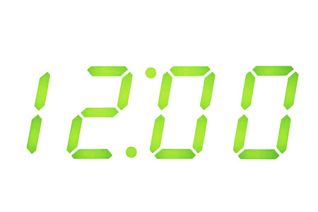 Digital Clock Display set on 12 O Stock Photo