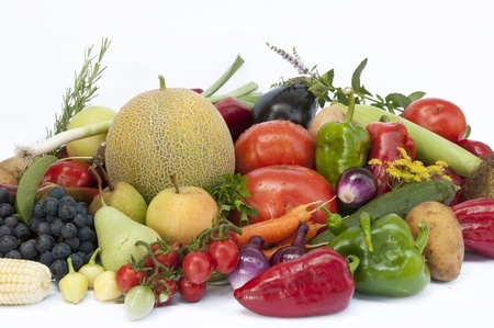 Vegetables and  fruit on white  background photo