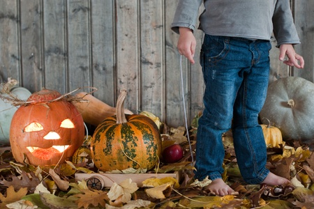 hallooween: A Child is pulling a  trolley with pumpkin.