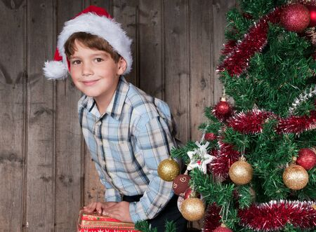 Happy Christmas boy and Christmas tree photo