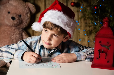 trees photography: Christmas wish-letter to Santa Stock Photo