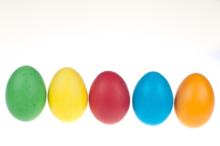 Easter eggs in a row photo