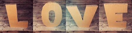 LOVE sign made of cardboard photo