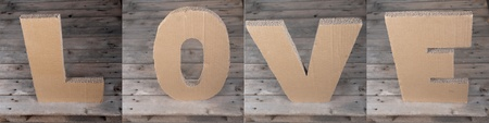 LOVE sign made of cardboard photo
