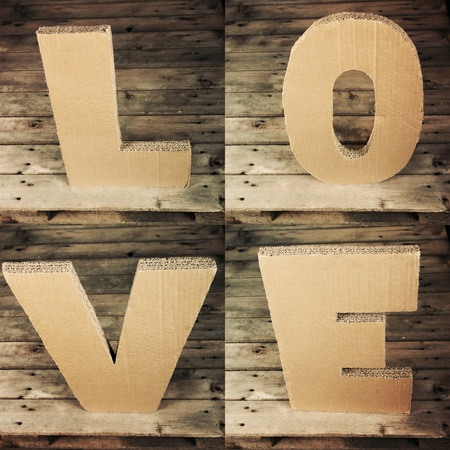 LOVE sign made ​​of cardboard photo