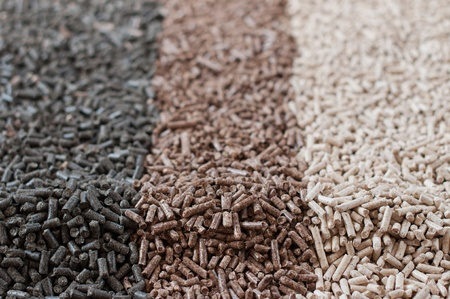Different kind of pellets- sunflower,pine,beech, Standard-Bild
