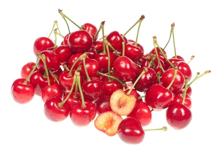 Cherries on a white background photo