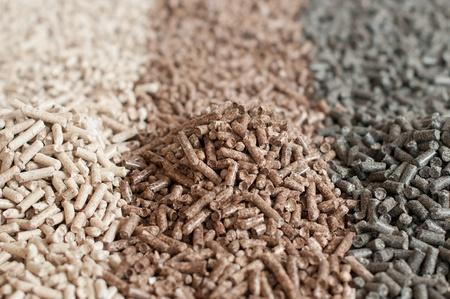 pellet gun: Different kind of pellets- oak, pine,sunflower- selective focus on  the heap