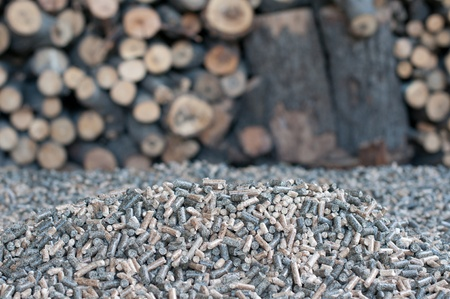 Different kind of pellets- oak, pine,sunflower- selective focus on  the heap photo