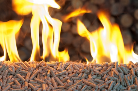 briquettes: Oak Pellets in  flames- chopped firewood background