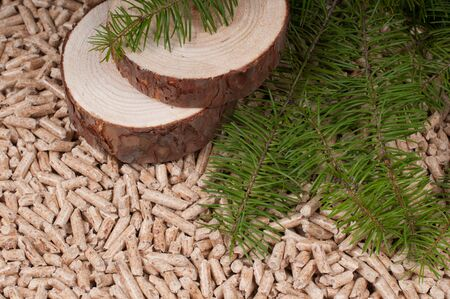 Pine Pellets- selective focus on the slices Stock Photo