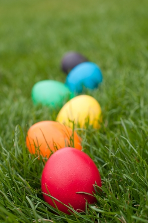 log basket: Easter eggs in a row on the meadow Stock Photo