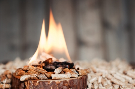 briquettes: Pine pellets on wooden slice in flames- selective focus on foreground