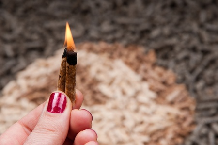 pellet gun: Pine pellets  in flames in female hands- selective focus on foreground
