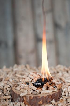 holzbriketts: Pine Pellets auf h�lzernen Scheibe in Flammen-selektiven Fokus auf Vordergrund