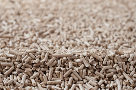 biomasse: Pine pellets  - selective focus on foreground Stock Photo